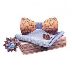Drewniany komplet T04: muszka, spinki, poszetka i broszka