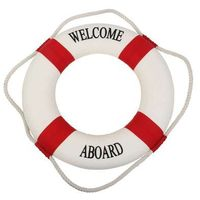 Kamizelki i pasy ratunkowe, Koło ratunkowe czerwone pasy, dekoracja Life buoy red, M 25 cm