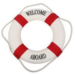 Koło ratunkowe czerwone pasy, dekoracja Life buoy red, M 25 cm