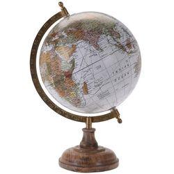 Globus na drewnianej podstawce - kolor biały