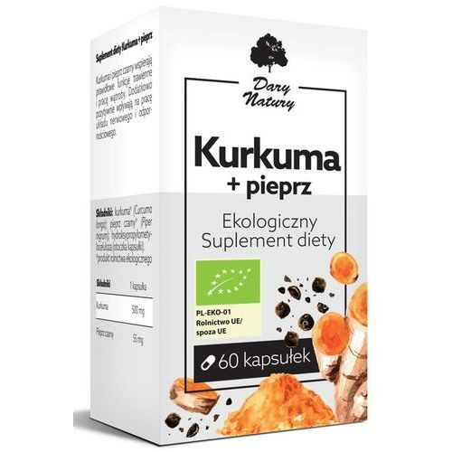 Leki na wątrobę, Kurkuma + Pieprz Eko 60 Kapsułek - Suplement Diety - Dary Natury