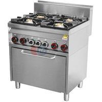 Piece i płyty grzejne gastronomiczne, Kuchnia gazowa wolnostojąca 4-palnikowa z piekarnikiem gazowym Red Fox linia 700 CF4 - 8 G