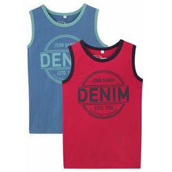 Koszulka chłopięca bez rękawów (2 szt.), bawełna organiczna bonprix niebieski dżins + czerwony z nadrukiem