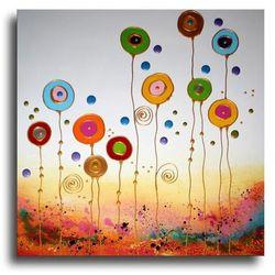 """obrazy nowoczesne """"kolorowe dmuchawce"""" ręcznie malowane w technice strukturalnej na podkładach 3D 60x60cm rabat 10%"""