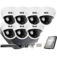 Zestawy monitoringowe, 7x BCS-DMIP3200IR-E-IV BCS BCS-NVR08015ME-II zestaw monitoringu Dysk 1TB Akcesoria