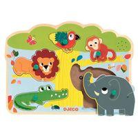 Puzzle, Puzzle drewniane z dźwiękiem Djeco - zoo DJ01708