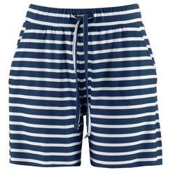 Bermudy shirtowe bonprix ciemnoniebieski w paski
