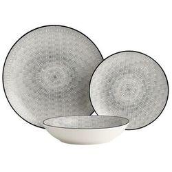 Serwis obiadowy SIA z cienkiej porcelany OSIS - 18-częściowy - biały w czarne wzory