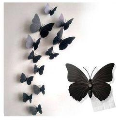 Ozdobne motylki czarne - 11 x 9 cm - 12 szt.