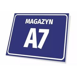 Tabliczka magazyn wraz z numerem, oznaczeniem literowym