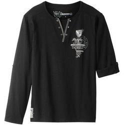 Shirt z długim rękawem bonprix czarny z nadrukiem