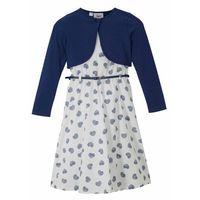 Sukienki dziecięce, Sukienka dziewczęca + bolerko + pasek (3 części) bonprix niebiesko-biały