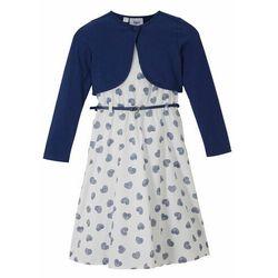 Sukienka dziewczęca + bolerko + pasek (3 części) bonprix niebiesko-biały