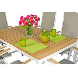 Meble ogrodowe aluminiowe VERONA LEGNO Stół i 6 krzeseł - białe - deski polywood Meble VERONA LEGNO (-5%)