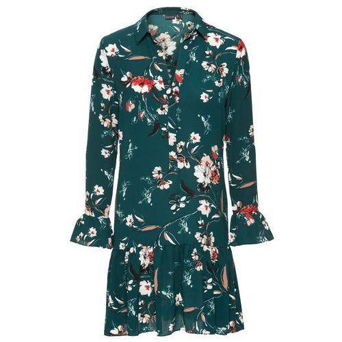 Suknie i sukienki, Sukienka w kwiaty bonprix ciemnozielony wzorzysty