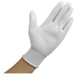 Rękawiczki ESD z warstwą antypoślizgową na całej powierzchni dłoni, białe, rozmiar XL