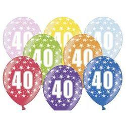 """Balony metalic z nadrukiem """"40"""" - mix - 38 cm - 5 szt."""