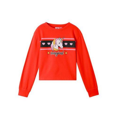 Bluzy dla dzieci, Bluza z motywem jednorożca bonprix głęboki pomarańczowy-czarny