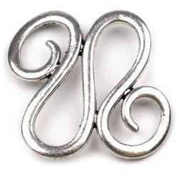 Ornamentowy łącznik do biżuterii 30x32 mm -platyna - PLT