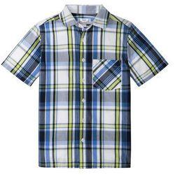 Koszula z krótkim rękawem i nadrukiem bonprix ciemnoniebiesko-zielony w kratę