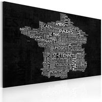 Obrazy, Obraz - Text map of France on the black background