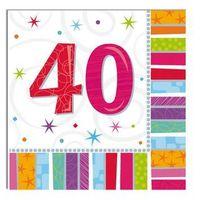 Pozostałe wyposażenie domu, Serwetki urodzinowe na czterdzieste urodziny - 40tka - 33 x 33 cm - 16 szt.