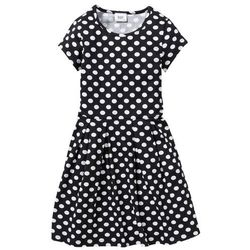 Sukienka drukowana w groszki bonprix czarno-biały w groszki
