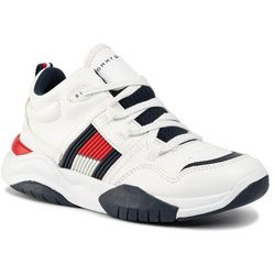 Sneakersy TOMMY HILFIGER - High Top Lace-Up Sneaker T3B4-30486-0815 D White 100
