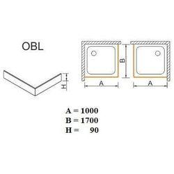 SANPLAST obudowa do brodzików Space Mineral do zabudowy narożnej OBL 100x170x9 625-400-1700-01-000