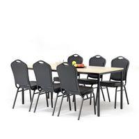 Meble do restauracji i kawiarni, Zestaw do stołówki, stół 1800x800 mm, brzoza + 6 krzeseł czarna eko-skóra/czarny