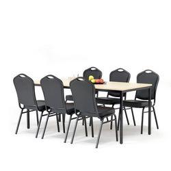 Zestaw do stołówki, stół 1800x800 mm, brzoza + 6 krzeseł czarna eko-skóra/czarny