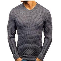 Sweter męski w serek ciemnoszary Denley 6005