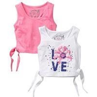 Bluzki dziecięce, Top z wiązaniem z boku (2 szt.) bonprix biały + jaskrawy jasnoróżowy