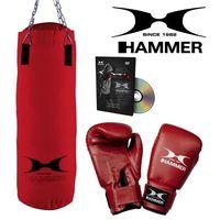 Pozostałe sporty walki, Zestaw bokserski HAMMER Fit – worek HAMMER Fit czerwony (60cm) + rękawice HAMMER Fit 10 OZ + DVD z treningiem