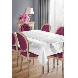 Elegancki obrus plamoodporny SUE-2 z szarfą 140x180 EUROFIRANY biały/ srebrny