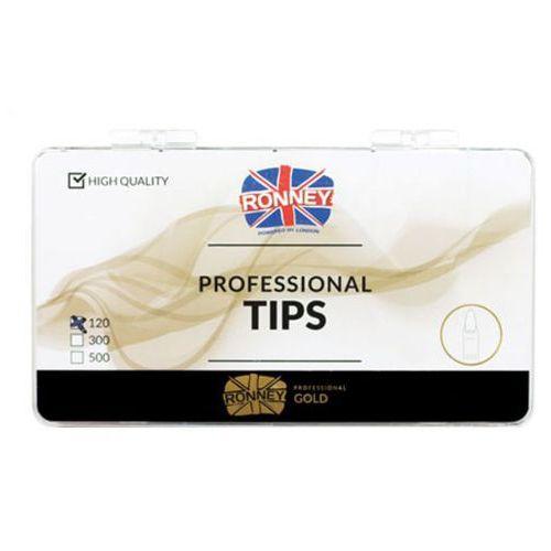 Tipsy, Ronney PROFESSIONAL TIPS ALMOND TRANSPARENT Tipsy migdałki bez kieszonki, bezbarwne (120 szt.)