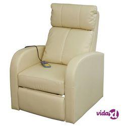 vidaXL Fotel z funkcją masażu, elektryczny, sterowany pilotem, kremowy Darmowa wysyłka i zwroty