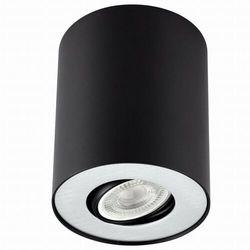 Regulowana LAMPA sufitowa PILAROS LS-DW001-CZARNO-SREBRNA Auhilon metalowa OPRAWA tuba downlight czarna srebrna