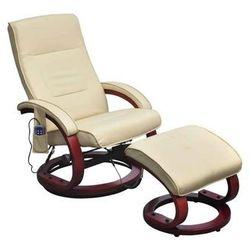 vidaXL Fotel masujący ze sztucznej skóry z podnóżkiem, kremowy Darmowa wysyłka i zwroty