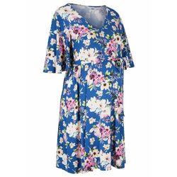 Sukienka ciążowa z dżerseju, krótka bonprix niebieski kwiatowy
