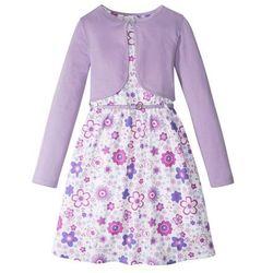 Sukienka dziewczęca + pasek + bolerko (3 części) bonprix biało-kolor bzu wzorzysty