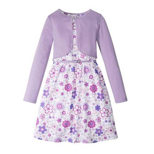 Zestawy odzieżowe dziecięce, Sukienka dziewczęca + pasek + bolerko (3 części) bonprix biało-kolor bzu wzorzysty