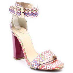 TYMOTEO 2661 SZACHOWNICA - Sandały na słupku - Multikolor ||Różowy WYPRZEDAŻ -35% (-35%)