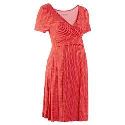 Sukienka ciążowa i do karmienia, z dżerseju, krótki rękaw bonprix truskawkowo-biały w kropki