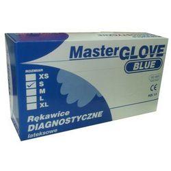 Rękawice lateksowe, pudrowane, gładkie, niebieskie, niejałowe MASTER GLOVE rozmiar M opakowanie 100 szt.