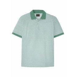 Shirt polo w graficzny deseń bonprix pastelowy zielony - biały w graficzny deseń