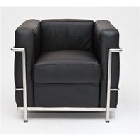 Fotele, Fotel Kubik czarna skóra TP - czarny