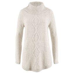 Sweter poncho, długi rękaw bonprix biel wełny melanż