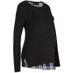 Sweter ciążowy i do karmienia bonprix antracytowy melanż - szary w kratę