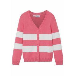 Sweter dziewczęcy rozpinany biały bonprix różowy flaming + biały